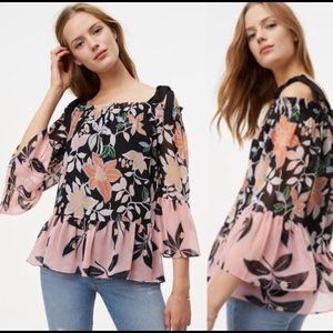 NWT Ann Taylor Loft Wild Orchid Off Shoulder Top M